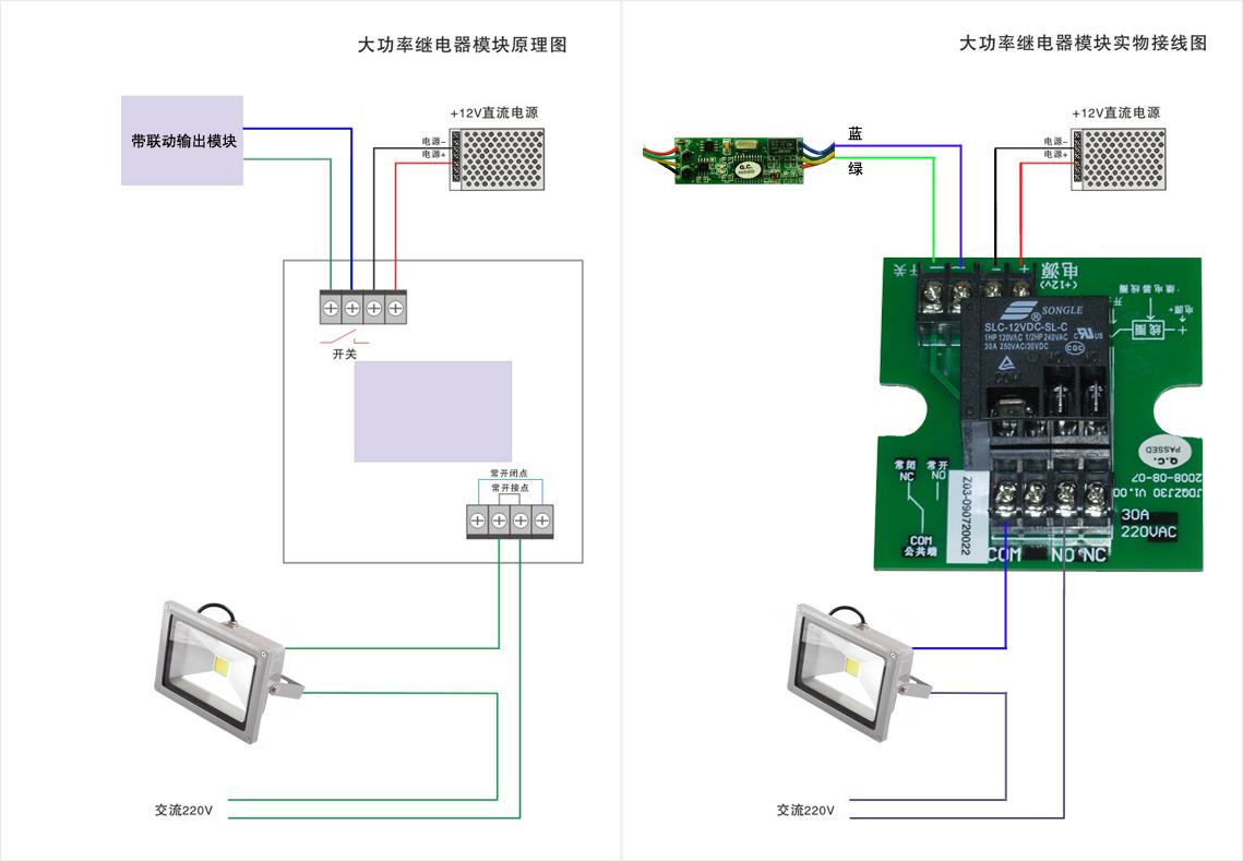 报警联动大功率继电器模块控制投射灯接线图